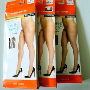 Pantyhose Sheer Nylons Queen Size 3 Pairs Beige